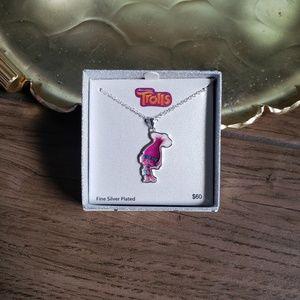 Trolls Poppy fine silver plated necklace pendant